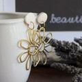 Dots and Dangles - white metallic dot with various dangles