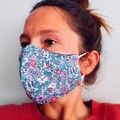Womens 3 Layered Face Mask - Steel Blue/Floral