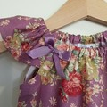 Girls Purple Floral Flutter Sleeve Dress  Size 1 - 6
