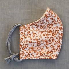 Fabric Face Mask - Orange Flowers (free postage)