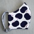 Fabric Face Mask - Navy Apples (free postage)