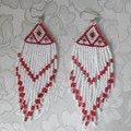 Red & White very long beaded Earrings