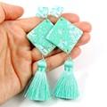 Diamond tassel earrings - mint