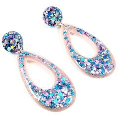 Pink,  blue & silver glitter collection - teardrop