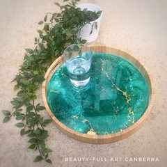 Emerald Green and Gold Resin Art Bamboo Serving Tray