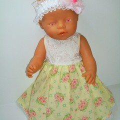 Dolls clothes dress and  headband for Baby Born and other  41/46cm dolls.
