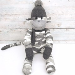 'Charlie' the Sock Monkey - grey camo -*READY TO POST*