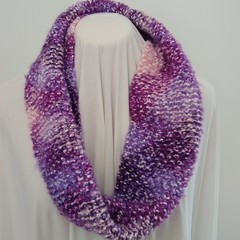 Hand Knitted Continuous Scarf - Pink & Purple