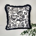 Fringed Black and White Monochrome Cushion Cover