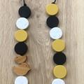 Trendy Mustard Speckled White Black beaded bird statement Necklace
