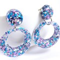 Pink, blue & silver glitter collection - circle