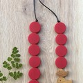 Classic Red vibrant flat round disc necklace with cute bird beads.
