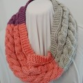 Hand Knitted Continuous Cable Scarf