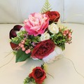 Hot Pink Rose Wedding Bouquet with Bonus Buttonaire