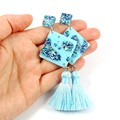 Diamond tassel earrings - blue