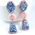 Pink, blue & silver glitter collection - long dangle