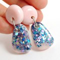 Pink, blue & silver glitter collection - short dangle