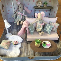 Pastel Lounge Dollhouse in a Suitcase with Mouse or Bunny