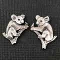 Koala stud earings - solid sterling silver 19mm Australian gift, Aussie souvenir