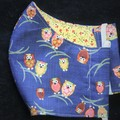 Owl Fabric Face Masks Size: 7-12yr kids Ready Made