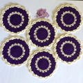 Six Violet and Ecru Coasters