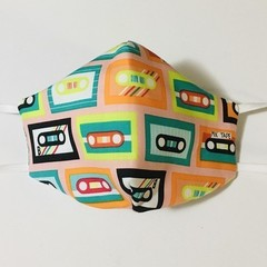 READY TO POST 3 layer Mask Retro Cassette Face Cover Reusable Cloth Mask