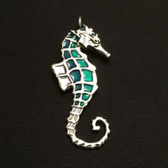 Seahorse Pendant - Green -Ocean Necklace