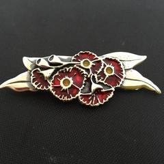 Gum Flower Brooch-large-sterling silver solid-cold fill enamel