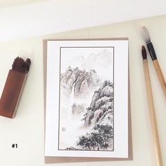 Chinese Painting Greeting Cards, Chinese landscape painting greeting cards.