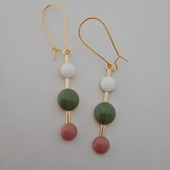 Gold white green and pink dot fashion earrings