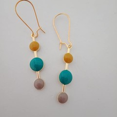 Gold yellow blue and beige dot fashion dangle earrings