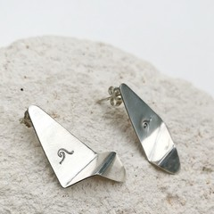 Recycled Sterling silver folded earrings