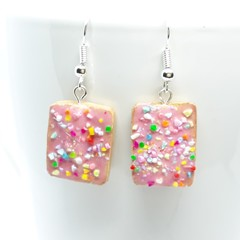 Miniature Aussie Rainbow Freckle dangle earrings