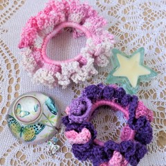 Set of 2 'Berry Ruffly' Lacy Hair Bands/Scrunchies