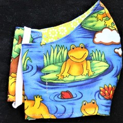 Frog Fabric Face Masks size: 7-12yrs kids Ready Made