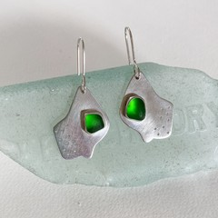 Sea glass contemporary earrings