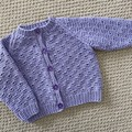 Lilac Cardigan - Size 3-6 months - Cotton blend - Hand knitted