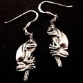 Frog hanging earings - sterling silver 30mm plus hook