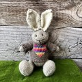 Jude the  Hand Knitted Bunny Rabbit Toy with Cute Brown/Rainbow Heart  Jumper