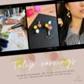 Tulip Trio Earrings (Orange Yellow White) - cute flower dangle earrings