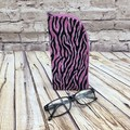 Pink Zebra Stripe  Zipper Pouch/Glasses Case