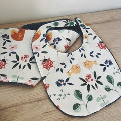 Baby dribble bib and mini burp cloth duo