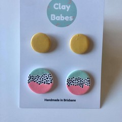 Mustard + watermelon tide stud pack - polymer clay earrings