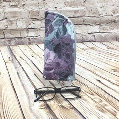 Purple/Green Leaves Zipper Pouch/Glasses Case