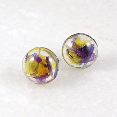 Statice flower collection - circle studs