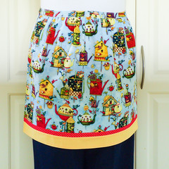 Half Apron Birdhouses - womens retro vintage lined kitchen apron