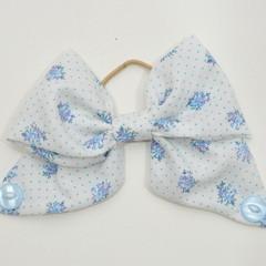 Blue Floral Bow Ear Saver for Ear Loop Face Masks