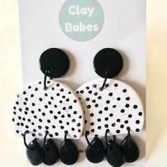 Black and white spot dangles - polymer clay earrings