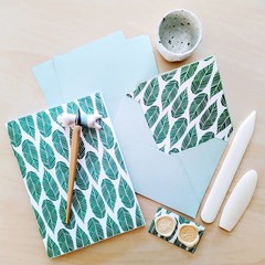 Green Leaf Handmade Stationery Set
