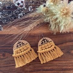 Macrame mustard yellow dangle earrings